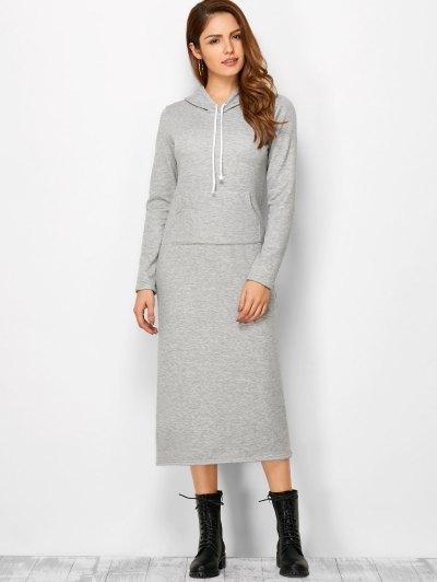 Long Sleeve Hooded Straight Dress - LIGHT GRAY M Mobile
