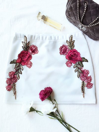 Rose Mini Bodycon Skirt - WHITE L Mobile