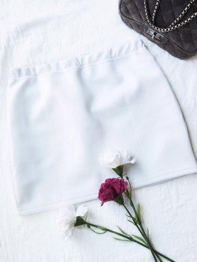 Rose Mini Bodycon Skirt - WHITE S Mobile