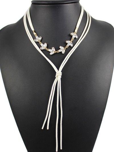 Layered Rhinestone Bolo Necklace - WHITE  Mobile