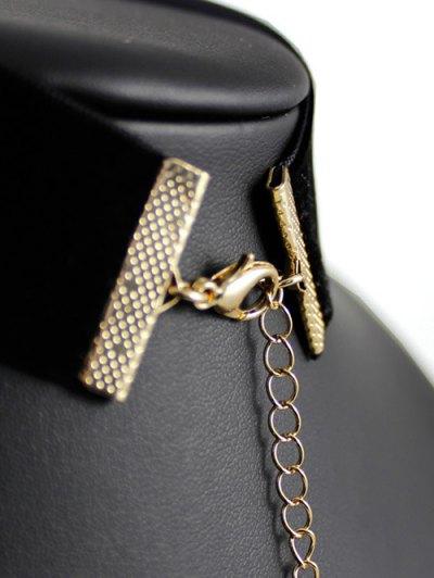 Rectangle Rhinestone Velvet Choker - BLACK  Mobile