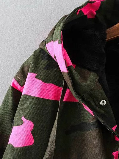 Camouflage Hooded Padded Utility Jacket - ARMY GREEN 3XL Mobile