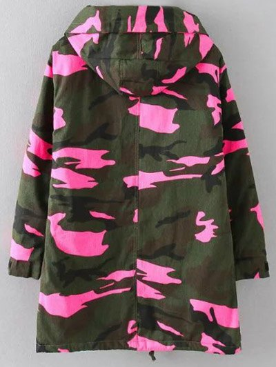 Camouflage Hooded Padded Utility Jacket - PINK 3XL Mobile