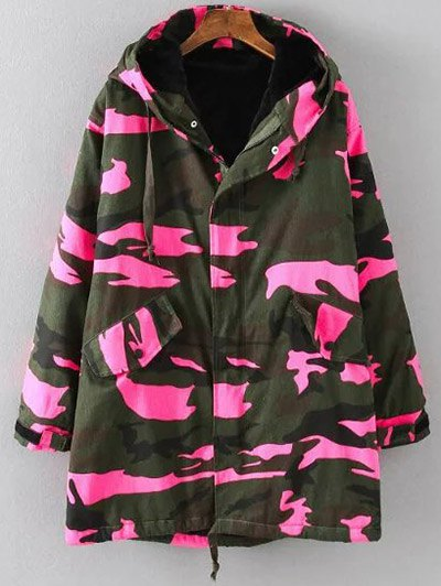 Camouflage Hooded Padded Utility Jacket - PINK 2XL Mobile