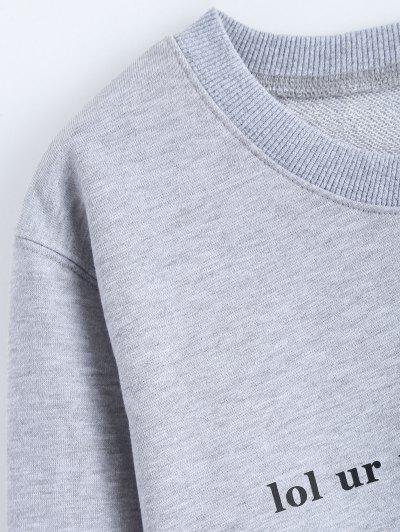 Streetwear Letter Pattern Sweatshirt - GRAY L Mobile