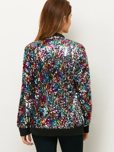 Sequins Bomber Jacket - MULTICOLOR 2XL Mobile