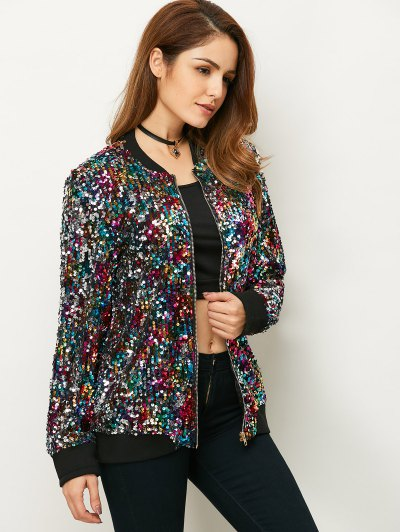 Sequins Bomber Jacket - MULTICOLOR XL Mobile