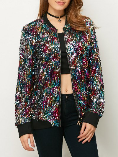 Sequins Bomber Jacket - MULTICOLOR S Mobile