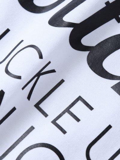 Jewel Neck Letter T-Shirt - WHITE L Mobile