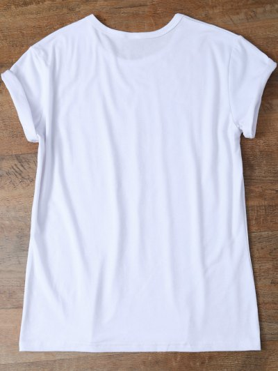 Jewel Neck Letter T-Shirt - WHITE M Mobile
