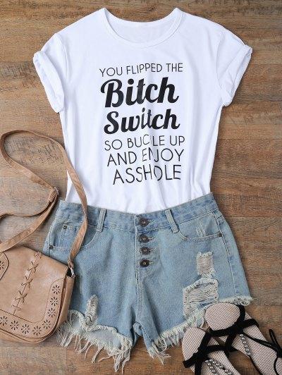 Jewel Neck Letter T-Shirt - WHITE S Mobile