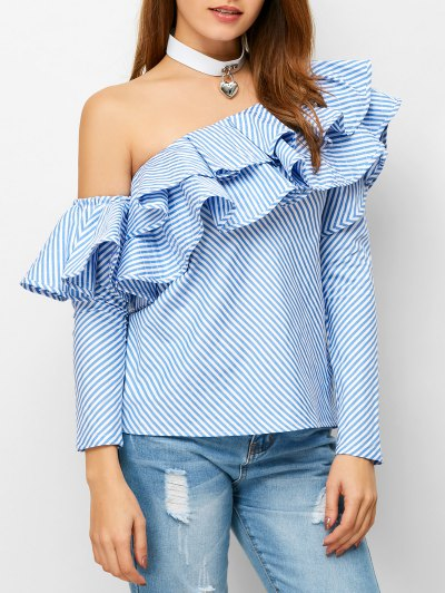 Skew Neck Ruffles Striped Blouse - STRIPE M Mobile