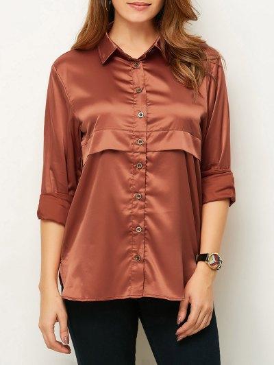 Long Sleeve Loose Shirt - BROWN XL Mobile