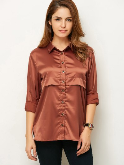 Long Sleeve Loose Shirt - BROWN L Mobile