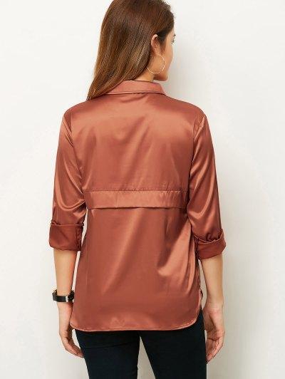 Long Sleeve Loose Shirt - BROWN M Mobile