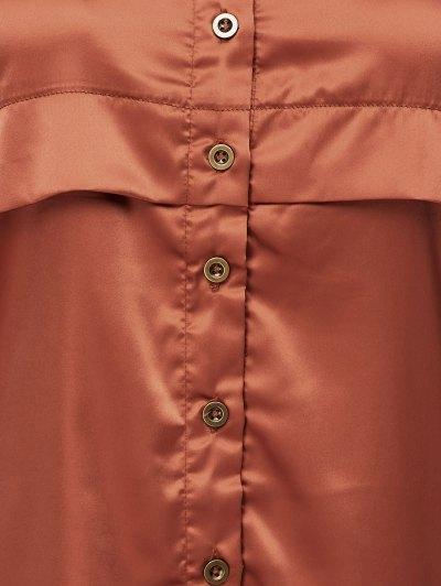 Long Sleeve Loose Shirt - BROWN XS Mobile