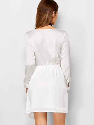 Plunge Neck Jersey Mini Dress - WHITE M Mobile
