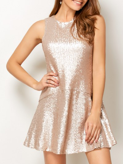 Sequined Cut Out Jewel Neck Dress - BEIGE 2XL Mobile