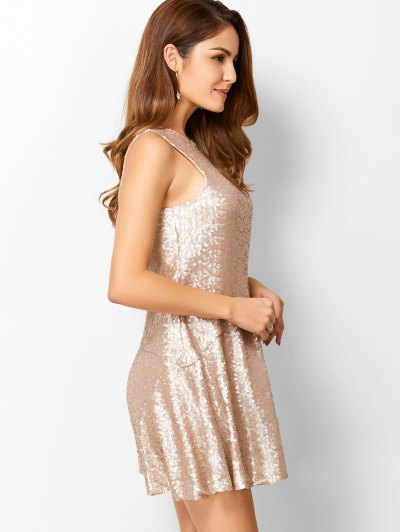 Sequined Cut Out Jewel Neck Dress - BEIGE S Mobile