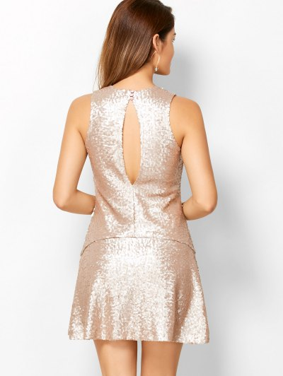 Sequined Cut Out Jewel Neck Dress - BEIGE XS Mobile