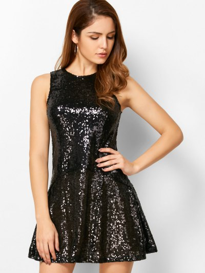 Sequined Cut Out Jewel Neck Dress - BLACK M Mobile