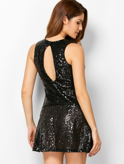 Sequined Cut Out Jewel Neck Dress - BLACK S Mobile