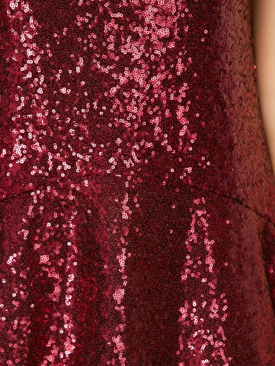 Sequined Cut Out Jewel Neck Dress - BURGUNDY S Mobile