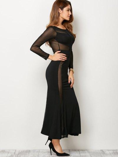 See Thru Mesh Panel Bandage Maxi Dress - BLACK XL Mobile
