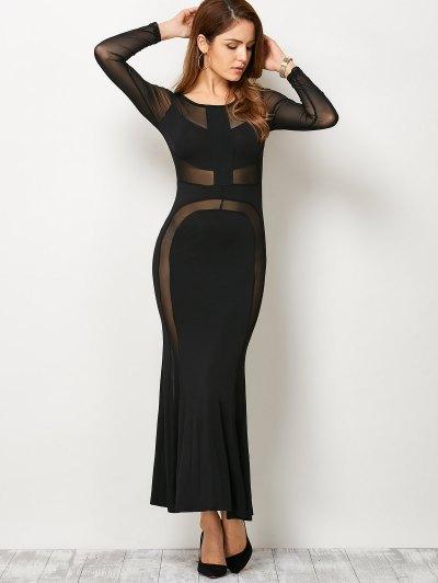 See Thru Mesh Panel Bandage Maxi Dress - BLACK S Mobile