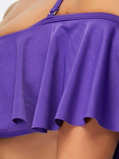 Flounced High Waisted Bikini - PURPLE M Mobile