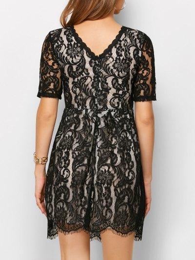 A Line V Back Lace Dress - BLACK XL Mobile
