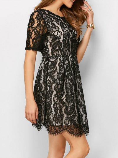 A Line V Back Lace Dress - BLACK S Mobile