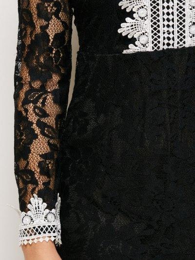V Neck Bodycon Mini Lace Dress - BLACK XL Mobile