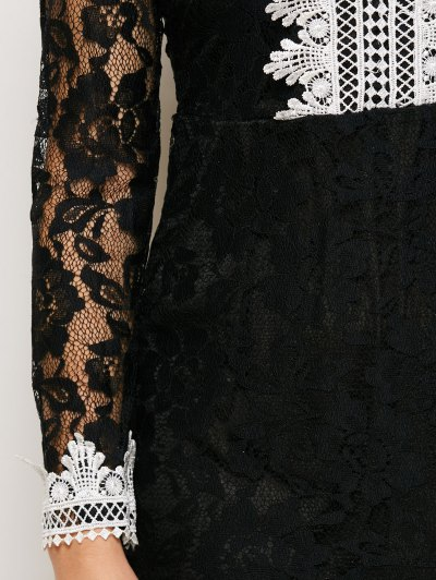 V Neck Bodycon Mini Lace Dress - BLACK L Mobile