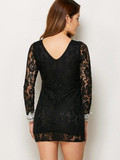V Neck Bodycon Mini Lace Dress - BLACK M Mobile