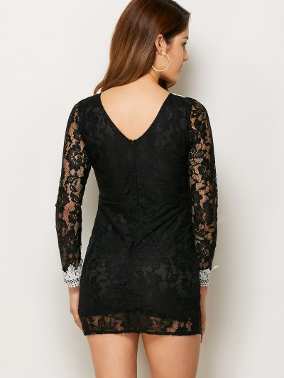 V Neck Bodycon Mini Lace Dress - BLACK S Mobile