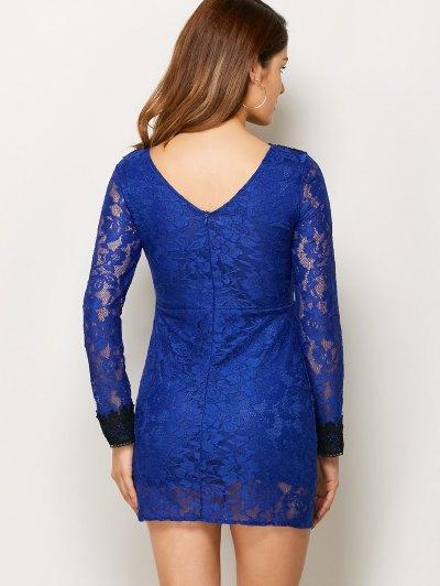 V Neck Bodycon Mini Lace Dress - BLUE L Mobile