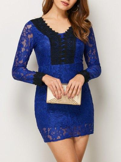 V Neck Bodycon Mini Lace Dress - BLUE S Mobile
