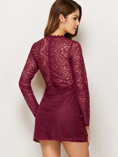 Lace Ruff Collar Mini Dress - BURGUNDY L Mobile