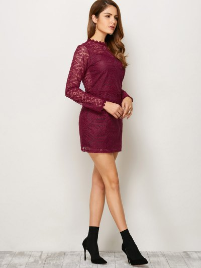 Lace Ruff Collar Mini Dress - BURGUNDY M Mobile