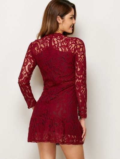 Openwork Long Sleeve Lace Mini Dress - RED M Mobile