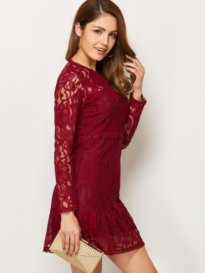 Openwork Long Sleeve Lace Mini Dress - RED S Mobile