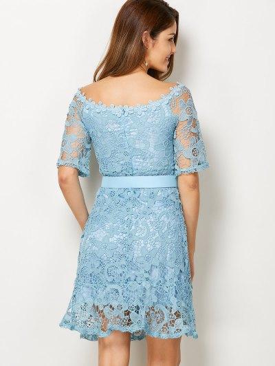 Scoop Neck Belted Lace Dress - LIGHT BLUE M Mobile