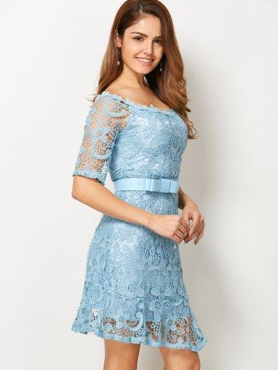 Scoop Neck Belted Lace Dress - LIGHT BLUE S Mobile