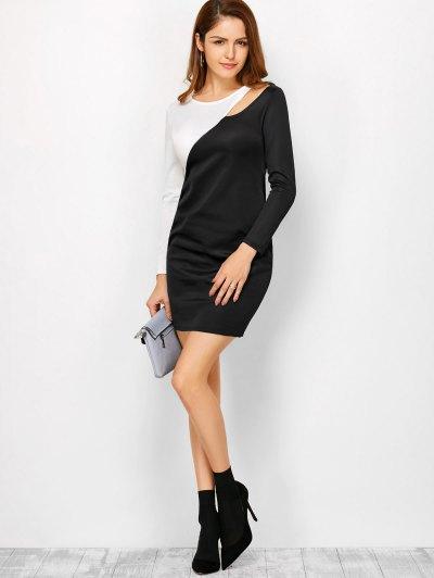 Color Block Cutout Sheath Dress - WHITE AND BLACK S Mobile