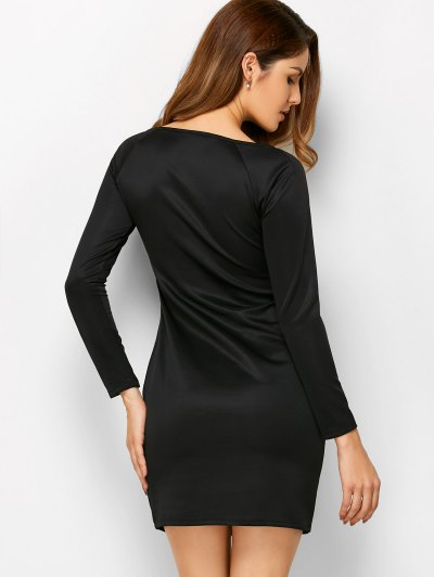 Cut Out Slash Neck Sheath Dress - BLACK L Mobile