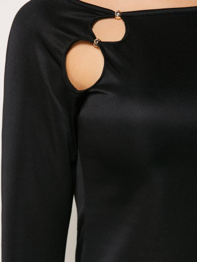 Cut Out Slash Neck Sheath Dress - BLACK M Mobile