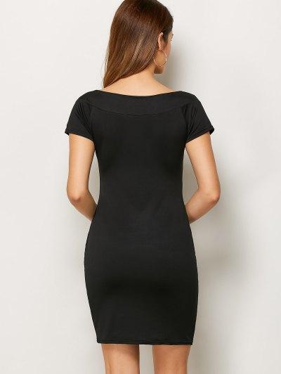 Rhinestone Scoop Neck Bodycon Dress - BLACK L Mobile