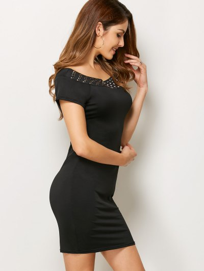 Rhinestone Scoop Neck Bodycon Dress - BLACK L Mobile