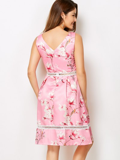 V Neck Floral Hollow Out Dress - PINK L Mobile